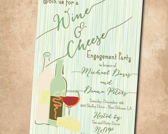 Wine and Cheese Invitation printable/Engagement Party Invitation, holiday, wine and cheese engagement/Digital File/wording can be chaanged