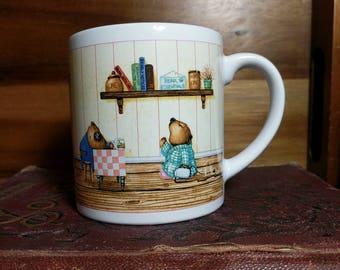 Vintage Recycled Paper Products Japan Bears Having Coffee Mug