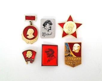 Vintage soviet pin badges, Lenin, communism, propaganda, made in USSR, 1970s