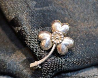 Vintage Hermann Siersbol sterling silver 925 flower brooch, Danish, 1940s, beautiful Scandinavian silver jewellery