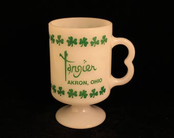 "Vintage Milk Glass Pedestal Mug from The Tangier in Akron, Ohio White Green Shamrocks ""Luck of the Irish""!"