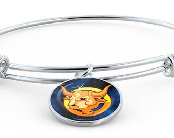 Zodiac Sign Taurus - Bangle Bracelet - Jewelry Gift For Her
