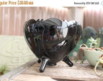 Black Amethyst Glass Rose Bowl Vintage 1920-1934 L E Smith Glass Home Table Cabinet Decor Collectible - Col0142