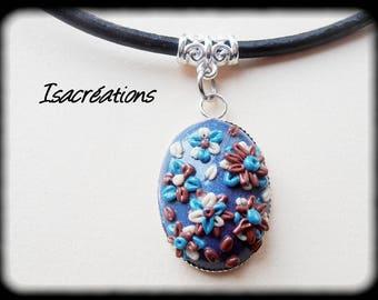 dark blue flower cabochon necklace