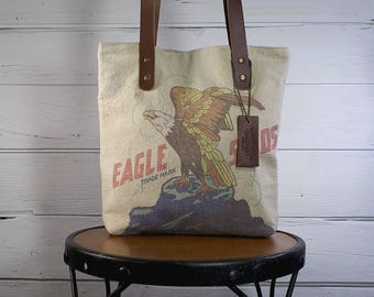 Rustic Country Vintage American Eagle Seed Bag with Vintage Ticking by American Harvest Bag Co