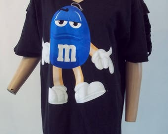 UPCYCLED BLACK/ BLUE M & M t shirt.....lg