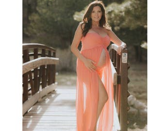 35 colors•Gown+Shorts•Sweetheart open belly maternity dress•maternity gown•maternity photography photo props•maternity dress•chiffon dr