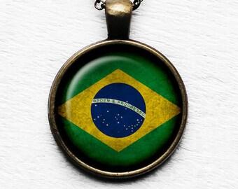 Brazil Brazilian Flag Pendant & Necklace