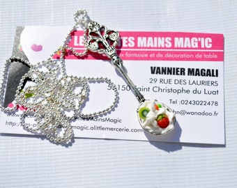Silver Spoon necklace gourmet whipped Strawberry kiwi