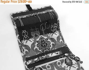 SUMMER VACATION SALE Jewelry Travel Organizer, Jewelry Roll, Jewelry Case in Greyscale Damask Fabric and Pin Dot Interior