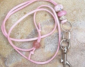 Pink Lanyard, ID Badge Holder, Faux Suede Lanyard, Faux Suede ID Holder, Pink ID Badge Holder, Australian Made, Key Holder, Name Badge