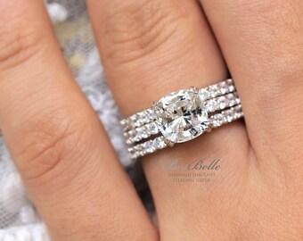 396 Cttw Bridal Set Ring Cushion Cut Diamond Simulants Engagement