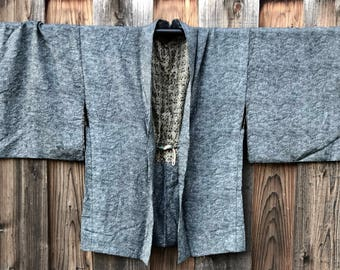 Vintage Japanese Silk Haori Jacket Wave Pattern