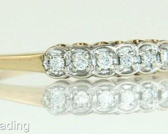Estate Fiancée 14K Yellow Gold .05ct Genuine Diamond Wedding Band Ring