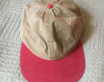 Vintage Beige and Red Cap