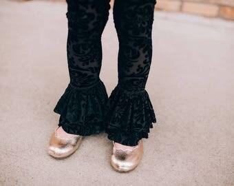 Josephine Ruffle leggings - Pink PomPon - Black velvet leggings, girls leggings, toddler black leggings, baby girl leggings, velvet leggings