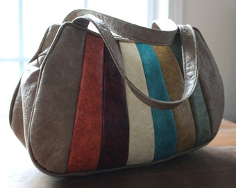 Vintage 70s/80s Rainbow Leather Shoulder Bag Purse Handbag