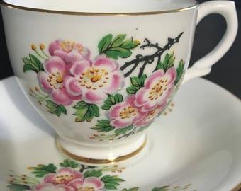 Vintage pink cherry blossom English bone china tea cup & saucer