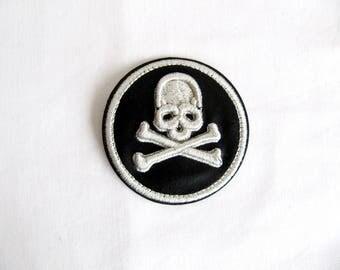 Iron On Cranio Skull Patch,3D Silver Skull Emblem,Skull Rigging,Lurex Skull Patch,Round Skull Applique,Heat Transfer Skull,Embroidery Skull