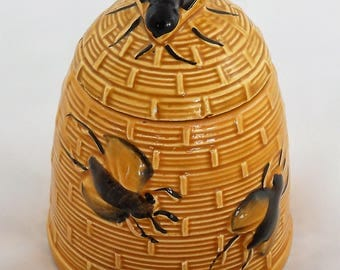 Ceramic Beehive skep Honey jar
