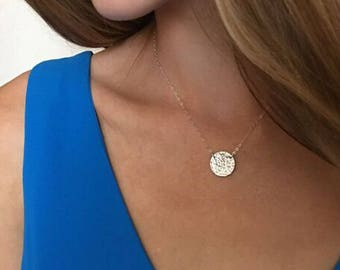 Silver Circle Necklace, Suspended Circle Necklace, Hammered Silver Disc, Silver Circle Necklace, Hammered Circle Necklace, Plain Disc,LC102S