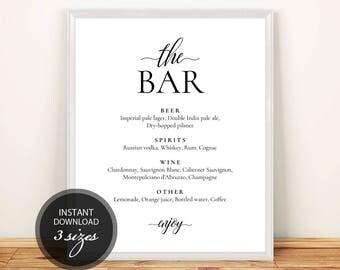 Pdf Template Bar Menu 8x10, 11x14, 16x20 Wedding Bridal Shower INSTANT DOWNLOAD Diy Bar Menu Editable Alcohol Menu Printable #DP110_11