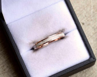 Women's Wedding Band: Metal Channel with Natural Shed Elk Antler Inlay. Stag Hound, Elk Head Design