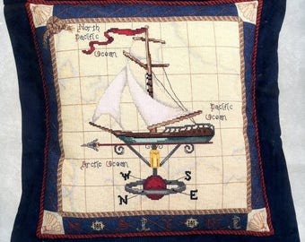 """Maritime Travels Pillow/Picture Counted Cross Stitch Sealed Kit #51378 by Candamar Designs Finished Size 14"""" x 14"""" Designer Leslie Beck 2002"""