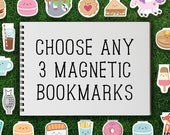 Magnetic Bookmark Set | Mix & Match Magnetic Bookmarks Pack of 3 Magnet Cute Food Kawaii Dessert Tea Breakfast Donut Cookie Quirky Sweet