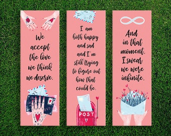 Long Bookmark | The Perks of Being a Wallflower Quotes Bookmarks Pack of 3 Stephen Chbosky Quotes Relationship Quotes Boyfriend Girlfriend