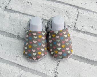 Grey Multicoloured hearts patterned booties, available in up to 24 months! Fun, Unique, Cute!!