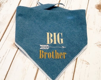 Big Brother Dog Bandana.  Chambray denim neckwear with a rustic style and arrow.  Pregnancy announcements can include your pet. Name on back