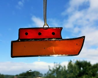 Small stained glass red canal boat / barge /narrow boat Suncatcher. Handmade gift or decoration. Boat lover gift.