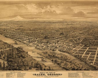 Salem OR Panoramic Map Dated 1876. This print is a wonderful wall decoration for Den, Office, Man Cave or any wall.