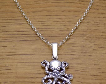 Marvelous Solid 925 Sterling Silver Charming Lovely Octopus 3D Pendant Necklace with Chain Awesome Lovely Beautiful Incredible Design