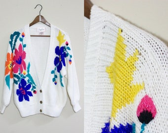 White Floral Sweater Cardigan With Gold Button Detail