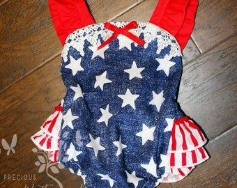 Baby Girls Ruffled Bottom Patriotic Romper- Toddler Girls Bubble Romper- Sun Suit- Stars and Stripes- Play Suit- 0-3m, 3-6m, 12-18m, 18-24m