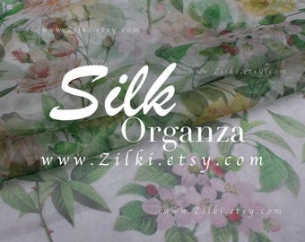 Yellow organza Silk Rose fabric by the YARD