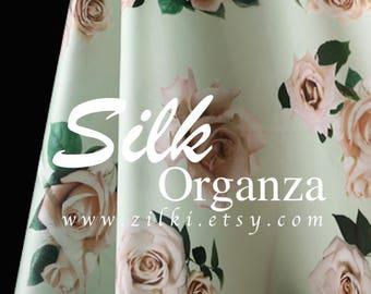 Pink rose light green silk organza fabric by the YARD