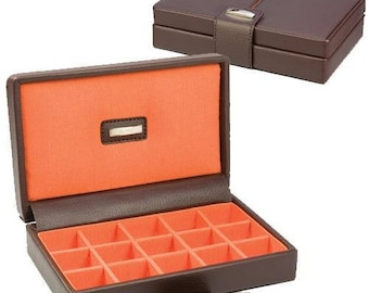 Classic Genuine Leather 15 section Cufflink Box, Executive Black with Orange Grosgrain Lining Storage Gift Box-For Him Her-Father Day