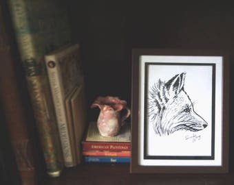 Sneaky Fox Ink Drawing Framed