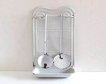 Vintage White Enamel Utensil Rack - French Antique Kitchen Ladle and Skimmer
