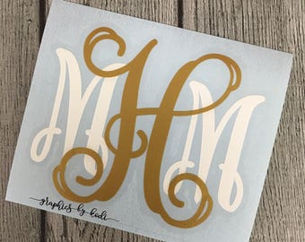 Layered Monogram Decal - Layered Monogrammed Car Decal - Two Color  Monogrammed Sticker - Laptop Decal Sticker - Monogrammed Gift