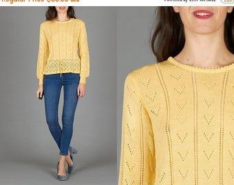 ON SALE Vintage 70s Yellow Pointelle Sweater