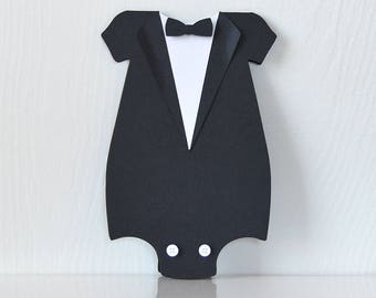 Little Man Romper Invitations: Tuxedo style folded cards with attached bow tie and buttons, elegant, personalize, baby shower - LRD012B