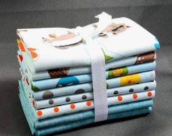 "HUGE SUMMER SALE Fox Trails Fat Quarter Bundle by Doohikey Designs for Riley Blake ~ 8 Blue & Green 18""x22"" PreCut Cotton Quilt Pieces"