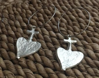 Stunning Authentic Mexican Pewter Sacred Heart (Corazon) (Milagros) Hoop Earrings. Very limited availability. Sacred Heart With Cross.