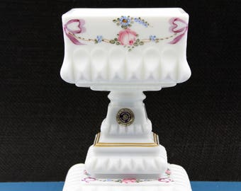 Vintage Hand Painted Westmoreland Milk Glass Covered Compote on Pedestal Hand Painted