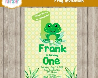 Frog Invitation, Frog First Birthday, Frog Party, Boy Invitation, Girl Invitation, Green party, Frog Party Invite, Frog Baby, Shower