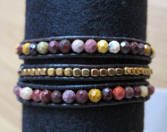 "WRAP BRACELET GEMS and Miyuki Beads ""Himalaya"", Natural Mineral Beads Gold Hematites and Mookaites, Miyuki and Gemstones, Handmade Jewelry"